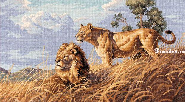 Набор для вышивания крестиком Африканские львы Производитель: Dimensions (США) Техника: счетный крест Размер вышивки...