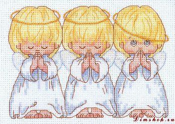 вышивка три ангелочка, схема.
