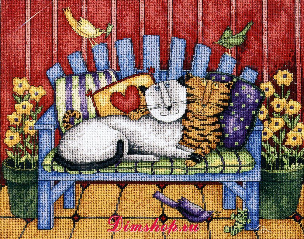 Вышивка коты на диване