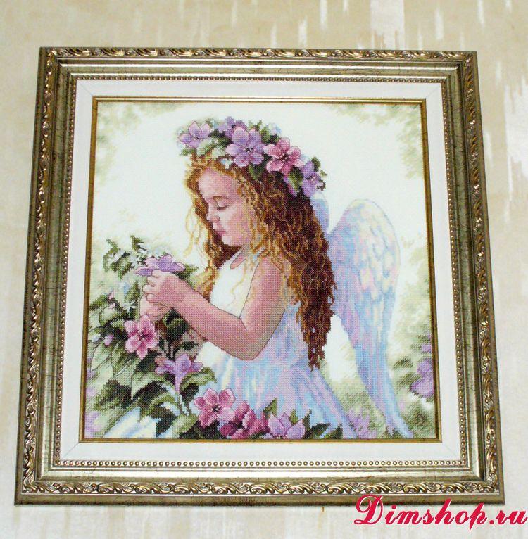 Цветочный ангел вышивка дименшенс