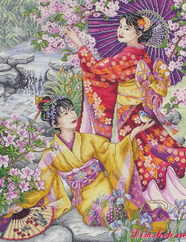Вышивка крестиком япония