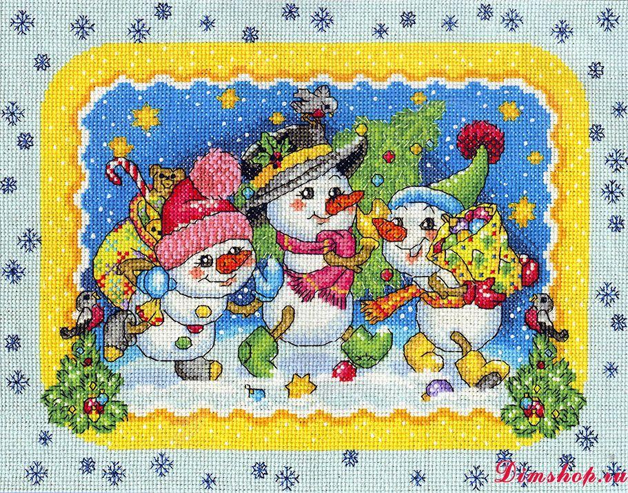 Снеговики вышивка крестом