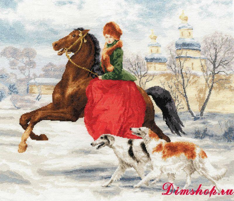 Вышивка зимняя прогулка