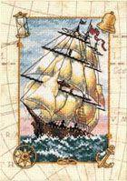 Потрясающая проработка схемы.  Вышивайте - корабль, идущий в порт с наполненными ветром парусами - очень хороший...